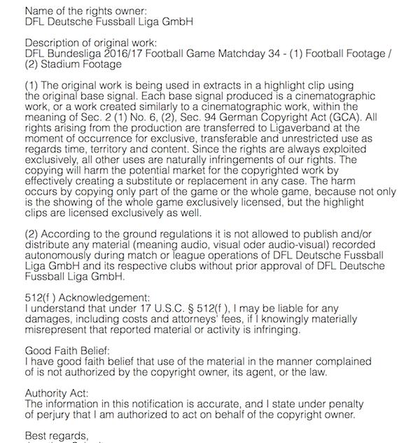Die E-Mail, die Athletica Sports im Namen der Deutsche Fussball Liga GmbH an Twitter geschickt hat (Auszug)