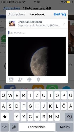 iOS 11, Facebook, Systemintegration