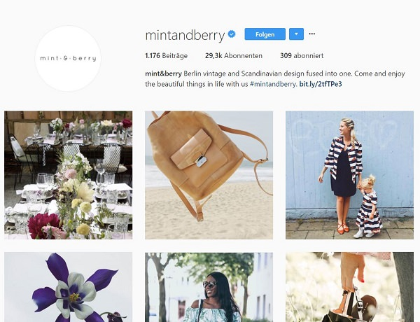Instagram, Zalando, mint & berry