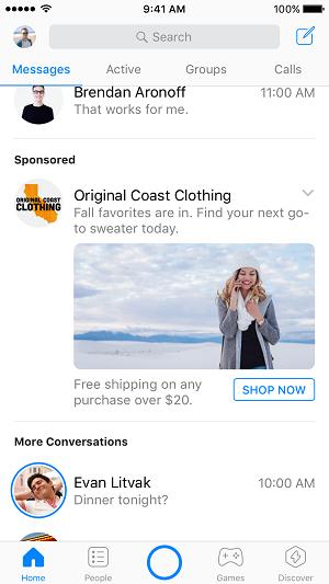 Facebook, Facebook Messenger, Messenger, Werbung im Messenger