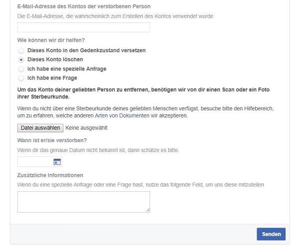 Facebook, Facebook-Konto, Tod, Gedenkzustand, Nachlasskontakt