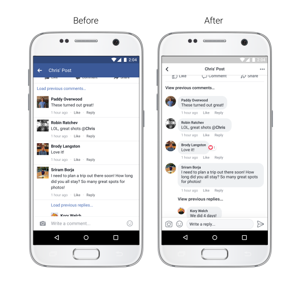Facebook Redesign, Facebook, Mobile