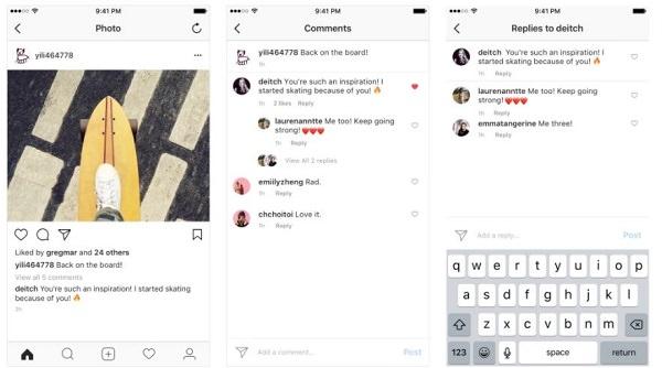 Instagram. Kommentarspalte