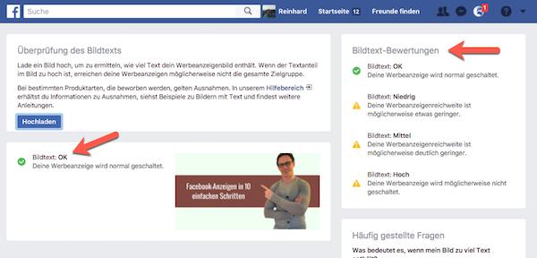Überprüfung des Bildtextes Facebook-Anzeigen