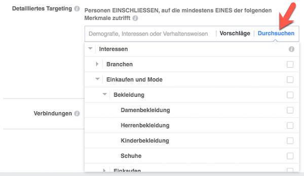 Detailliertes Targeting deiner Facebook-Anzeige