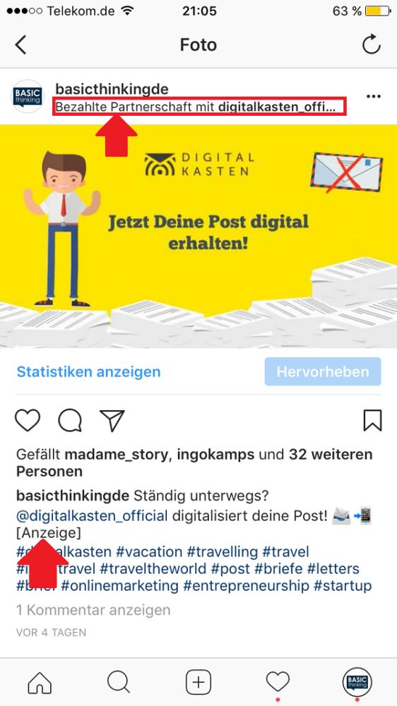 Instagram, Kennzeichnung, Instagram-Beiträge