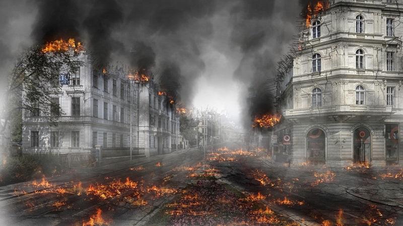 Brennende Straße Stadt