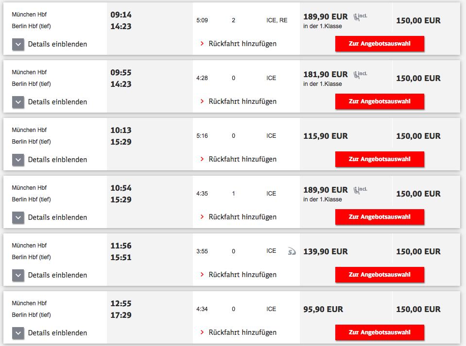 Züge von München nach Berlin (Bild: Screenshot bahn.de)
