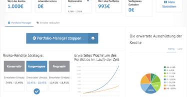 Im Dashboard bekommt man einen Überblick über die investierten Kredite