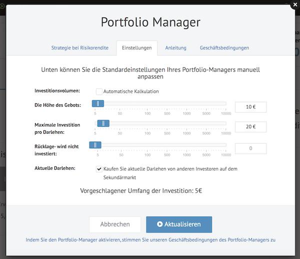 Der Bondora Portfolio Manager