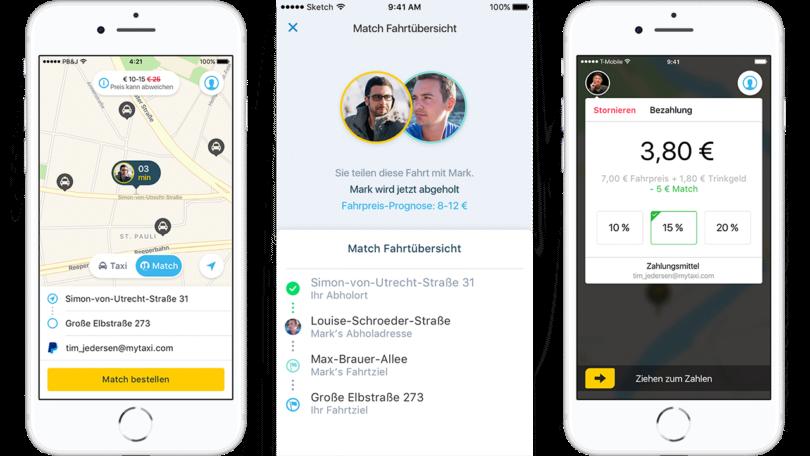 """Die """"Match""""-App von My-Taxi (Bilder: My-Taxi, Collage: Mobility Mag)"""