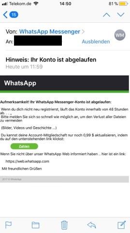 WhatsApp, Mail, Betrug, Betrüger, Phishing