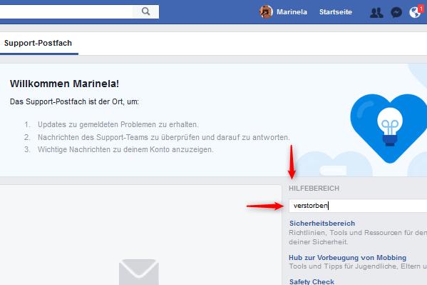 Facebook Gedenkzustand Hilfbereich Suchfunkion
