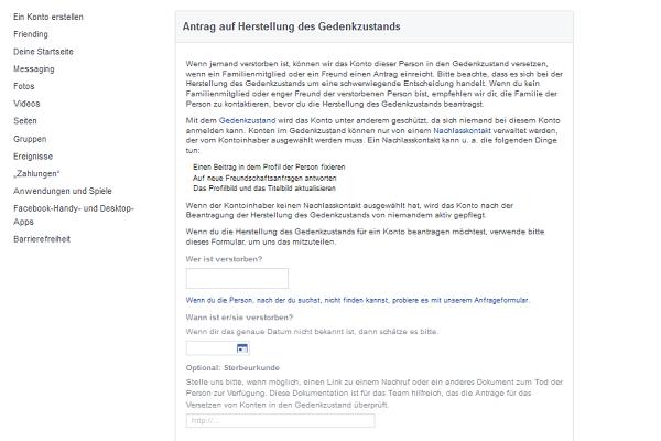Facebook Gedenkzustand Antrag