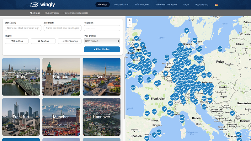 Wingly Flightsharing Webseite
