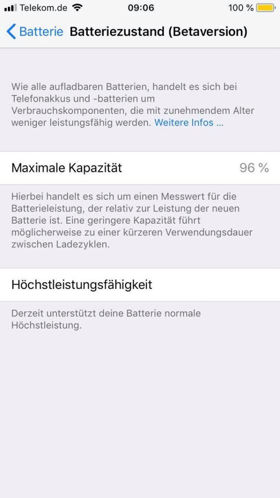 Apple, iPhone, Batterie, Batteriezustand