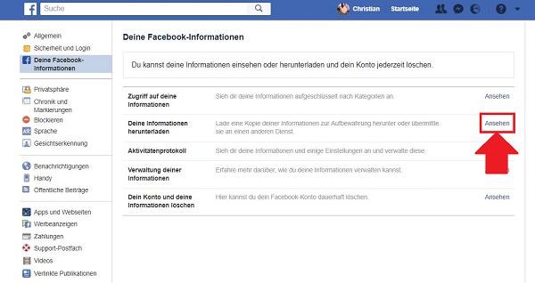 Facebook, Facebook-Daten, Facebook-Daten herunterladen