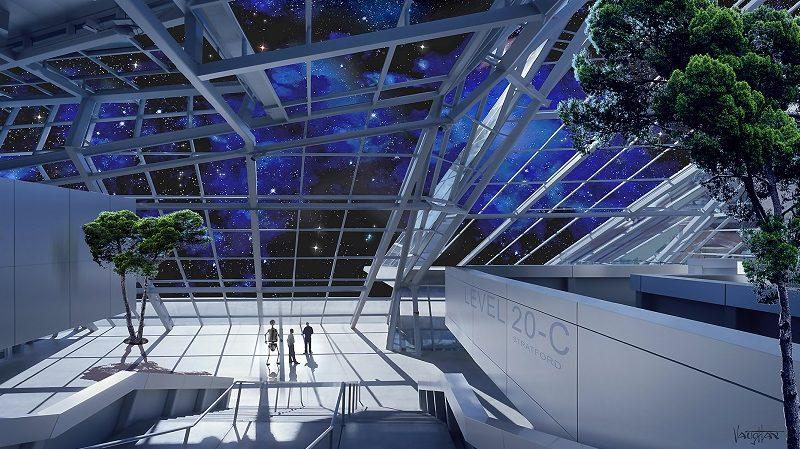 Asgardia Stadtzentrum Weltraum Illustration