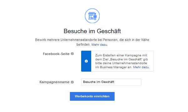 Marketingziele Facebook Besuche im Geschäft