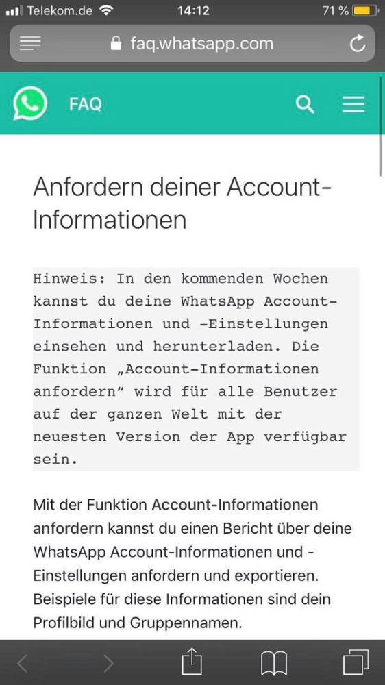 WhatsApp, WhatsApp-Daten herunterladen