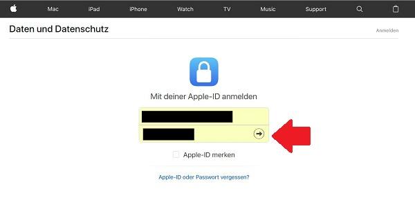 Apple-Daten herunterladen, DSGVO