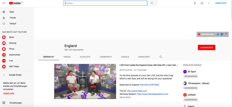 Youtube, Fans, WM, Abonnenten, England, Nationalteam