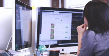 Apple, Frau, Computer, Arbeitsplatz, Content, Inbound Marketing