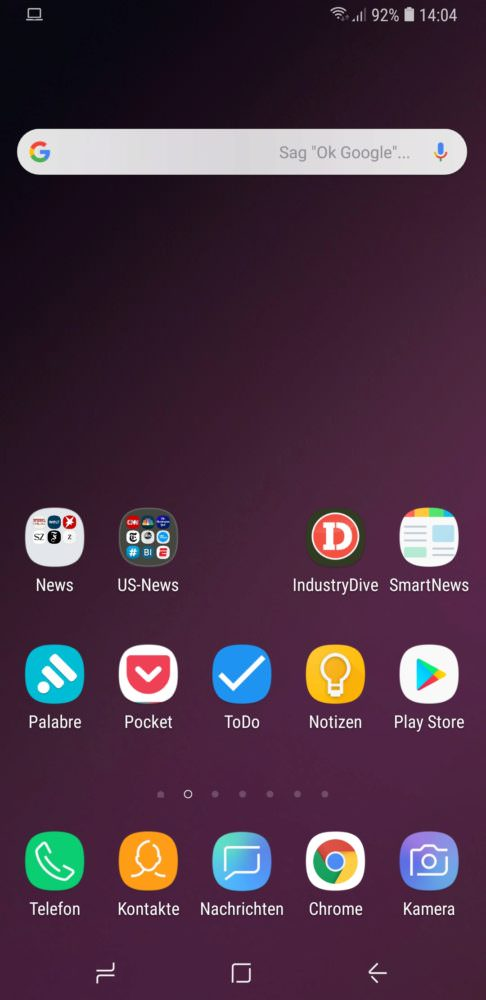 Homescreen, Samsung Galaxy S9, Ingo Kamps
