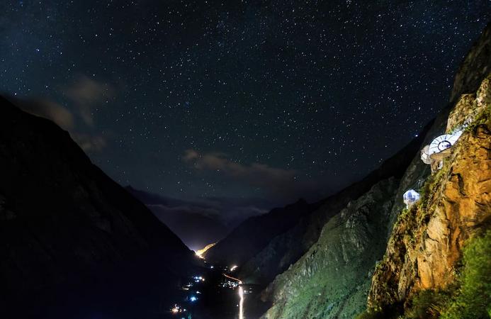 Skylodge Peru Aussicht Nacht