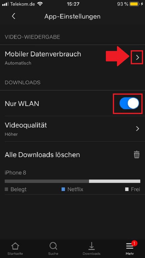 Datenverbrauch Streaming
