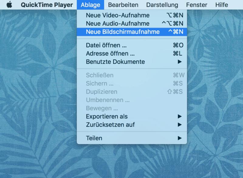 Birldschrimaufnahme von Quciktime für Mac.