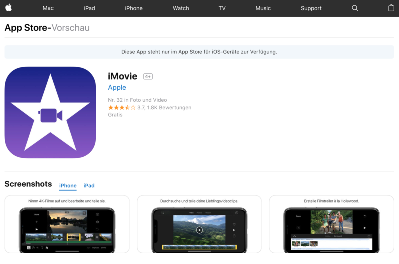 iMovie, iTunes, Apple