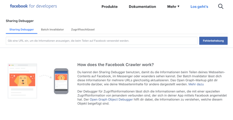 Startseite, Facebook, Debugger