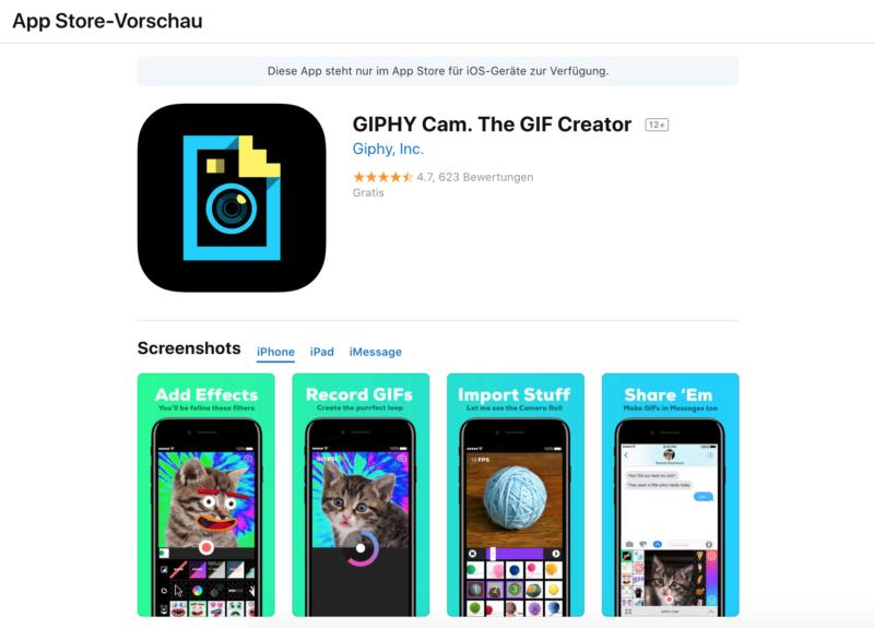 Die GIPHY Cam App im iTunes Store.