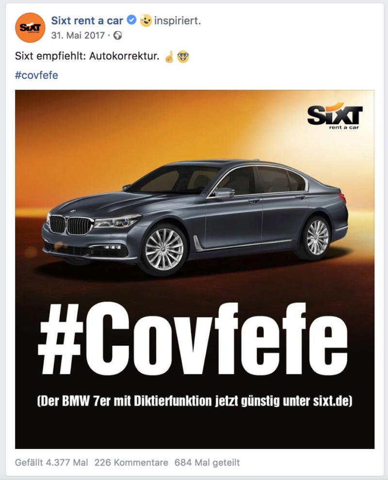 Sixt, Facebook, Memes