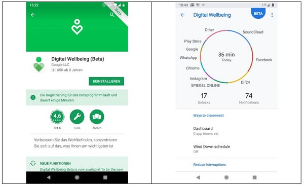 Android P, Digital Wellbeing, Dashboard
