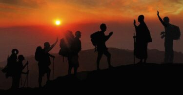Sonnenuntergang Berg Wanderer
