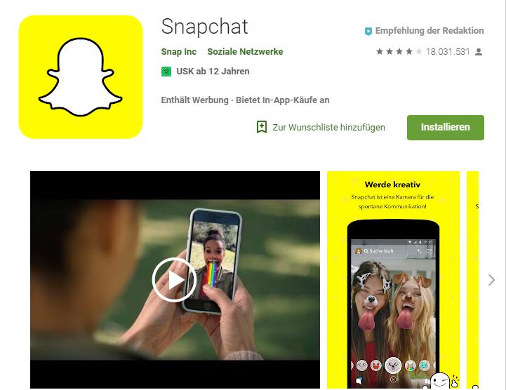 Snapchat, Android, Google Play Store