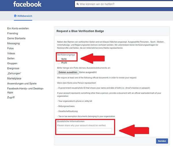 Facebook-Verifizierung