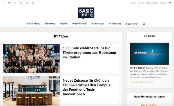 BT Ticker Seite Pressemitteilung veröffentlichen