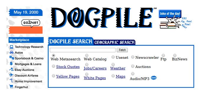 Dogpile Suchmaschine alte Landingpage