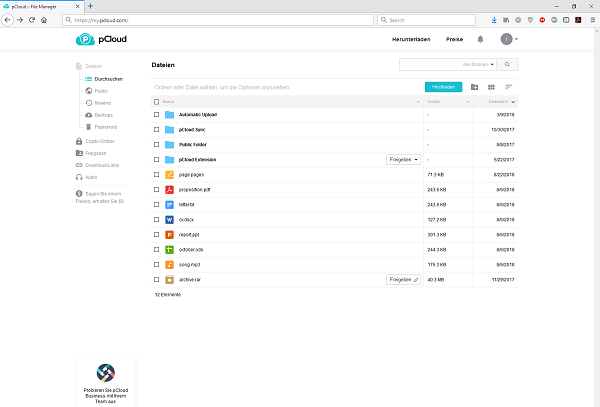 pCloud Übersicht Ordner Funktionen Browser