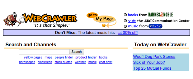Web Crawler Suchmaschine alte Landingpag