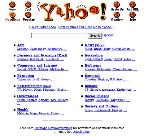 Yahoo Suchmaschine alte Landingpage