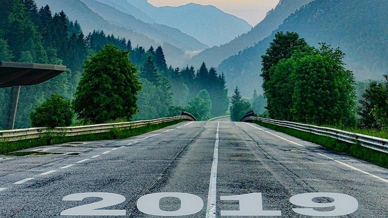2019, Ausblick, Weg, Straße, Hügel, Berge, Mut