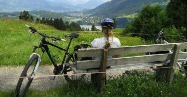 Frau Fahrrad Berge