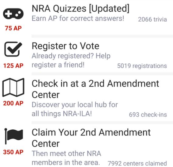 N.R.A. App Punktesystem U-Campaign