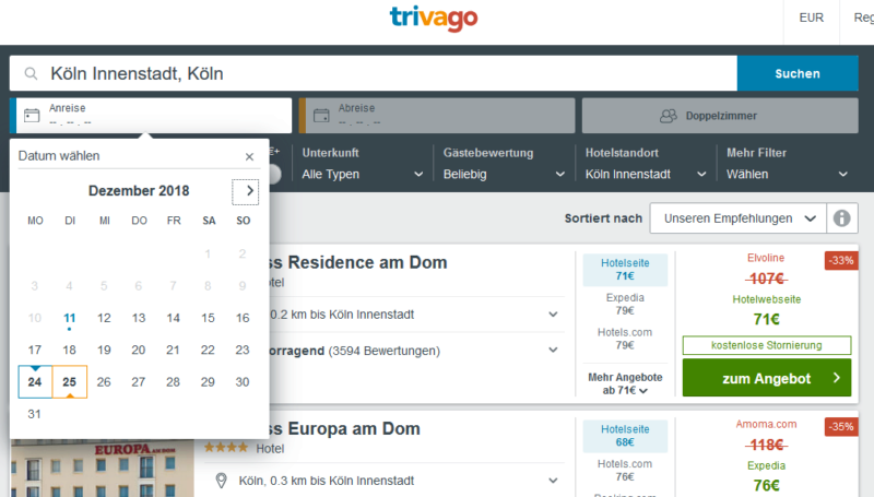 Trivago Screenshot Hotelsuche