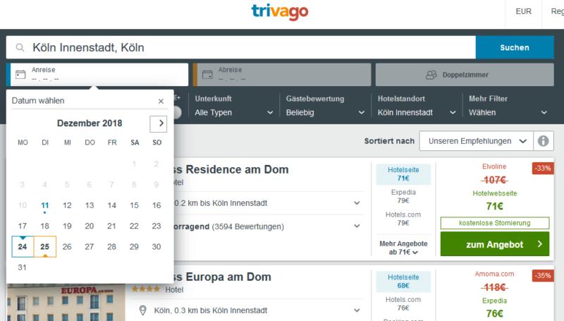 Trivago Screenshot Hotelsuche