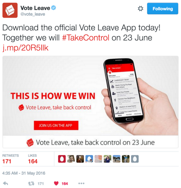 Vote Leave App U-Campaign